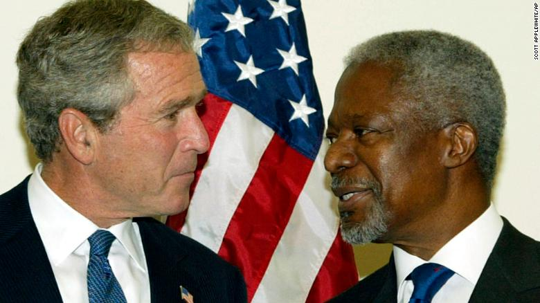In this 2003 file photo, UN Secretary-General Kofi Annan greets US President George W Bush before the start of the 58th UN General Assembly.