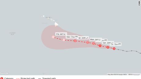 This forecast cone, created at 5 a.m. ET Saturday (11 p.m. HT Friday), shows the probable range of Hurricane Lane's center for five days.