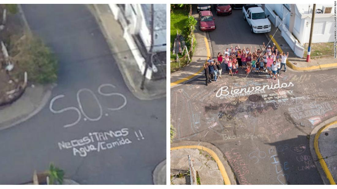 A Puerto Rican town wrote 'S.O.S.' in the street after Hurricane Maria. Now it has a new message