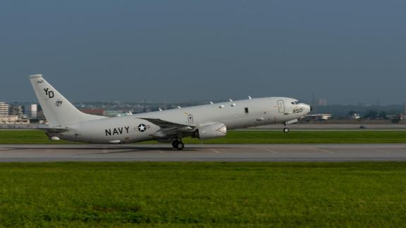 A U.S. Navy P-8A Poseidon takes off  Aug. 10, 2018, from Kadena Air Base, Japan. The Poseidon is a maritime patrol and reconnaissance aircraft designed to improve an operator's ability to conduct anti-submarine warfare, anti surface warfare, and intelligence, surveillance, and reconnaissance missions. (U.S. Air Force photo by Staff Sgt. Micaiah Anthony)