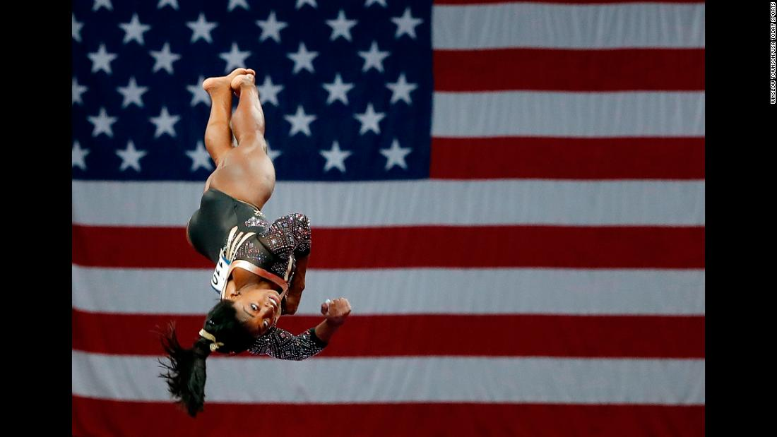Simone Biles competes in the vault during the US Gymnastics Championships in Boston on Friday, August 17.