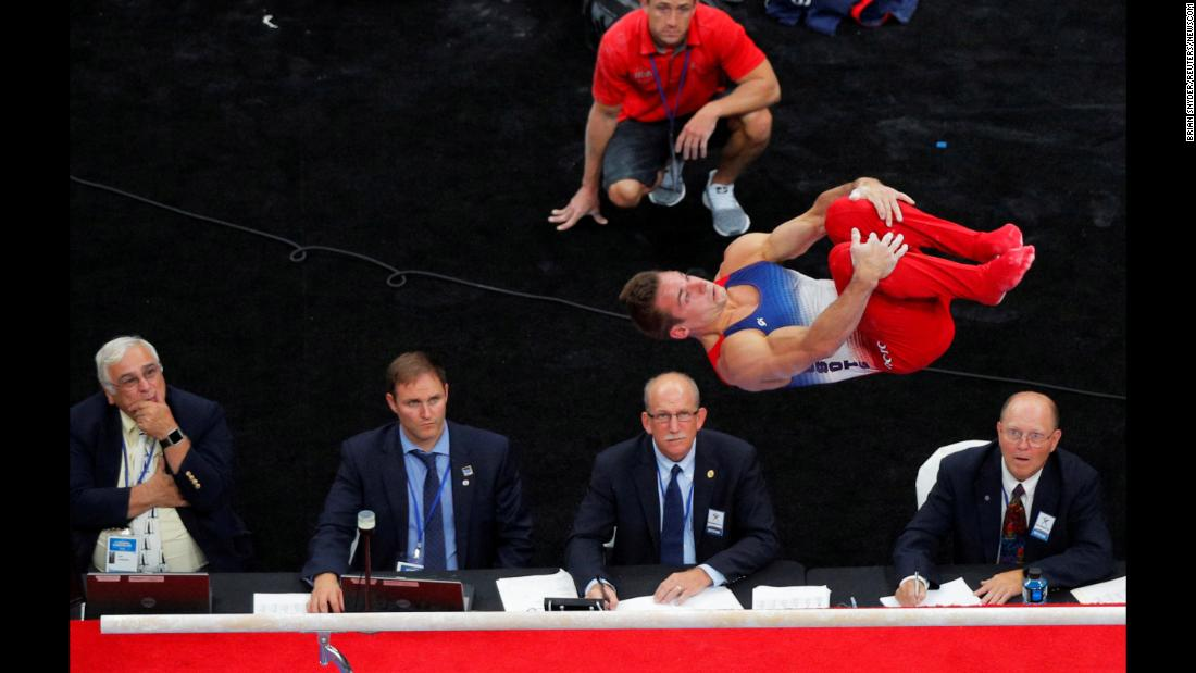 Sam Mikulak competes on the parallel bars at the US Gymnastics Championships on Thursday, August 16, in Boston.