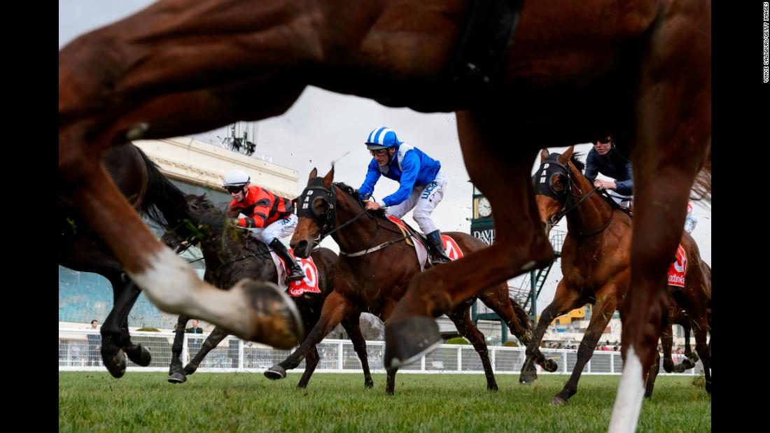 Damien Oliver rides Khulaasa during a Quezette Stakes race on Saturday, August 18, in Melbourne, Australia.