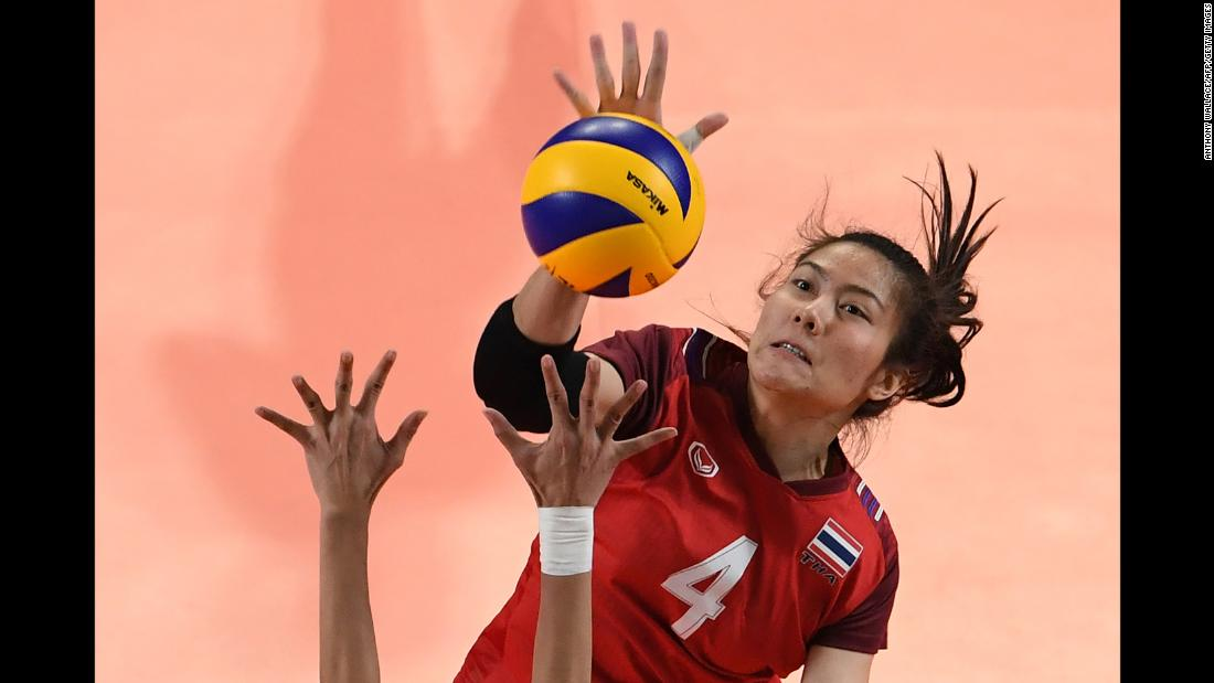 Thailand's Thatdao Nuekjang hits the ball during a volleyball match between the Philippines and Thailand at the Asian Games in Jakarta, Indonesia, on Sunday, August 19.