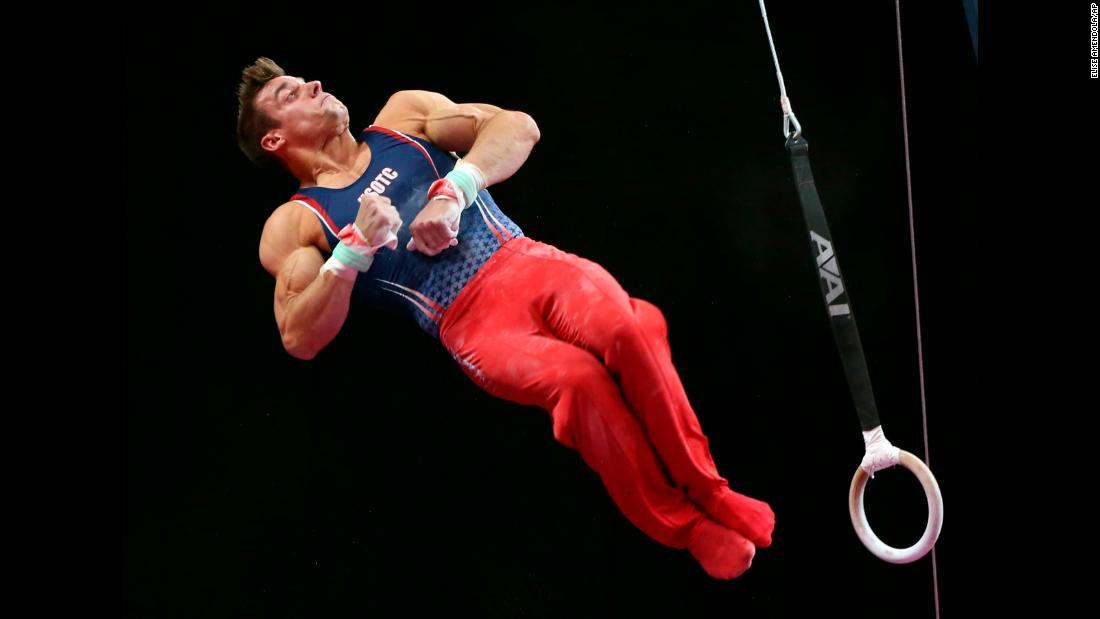 Sam Mikulak competes on the rings at the US Gymnastics Championships on Saturday, August 18, in Boston.