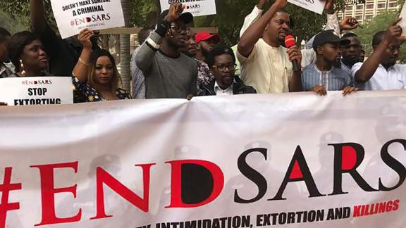 Members of the ENDSARS movement organized a protest against police extortion, brutality and killings in Nigeria as part of activities to mark the World Human Rights Day at the Fountain in Abuja on December, 11, 2017.