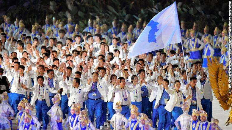 The Unified Korea delegation enters the stadium during the opening ceremony of the Asian Games 2018 at Gelora Bung Karno Stadium on August 18, 2018 in Jakarta, Indonesia.