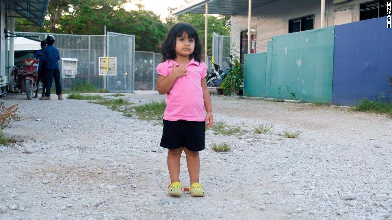 Image of a young child, Roze, who has been trapped on Nauru for five years, taken by World Vision in August 2018.