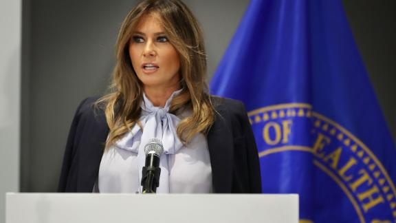 First lady Melania Trump delivers remarks during a Federal Partners in Bullying Prevention summit at the Health Resources and Service Administration August 20, 2018 in Rockville, Maryland.