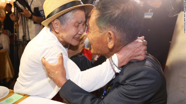 South Korean Lee Keum-seom, 92, meets with her North Korean son Sang Chol, 71, during a family reunion meeting at the Mount Kumgang resort on the North's southeastern coast on August 20, 2018.