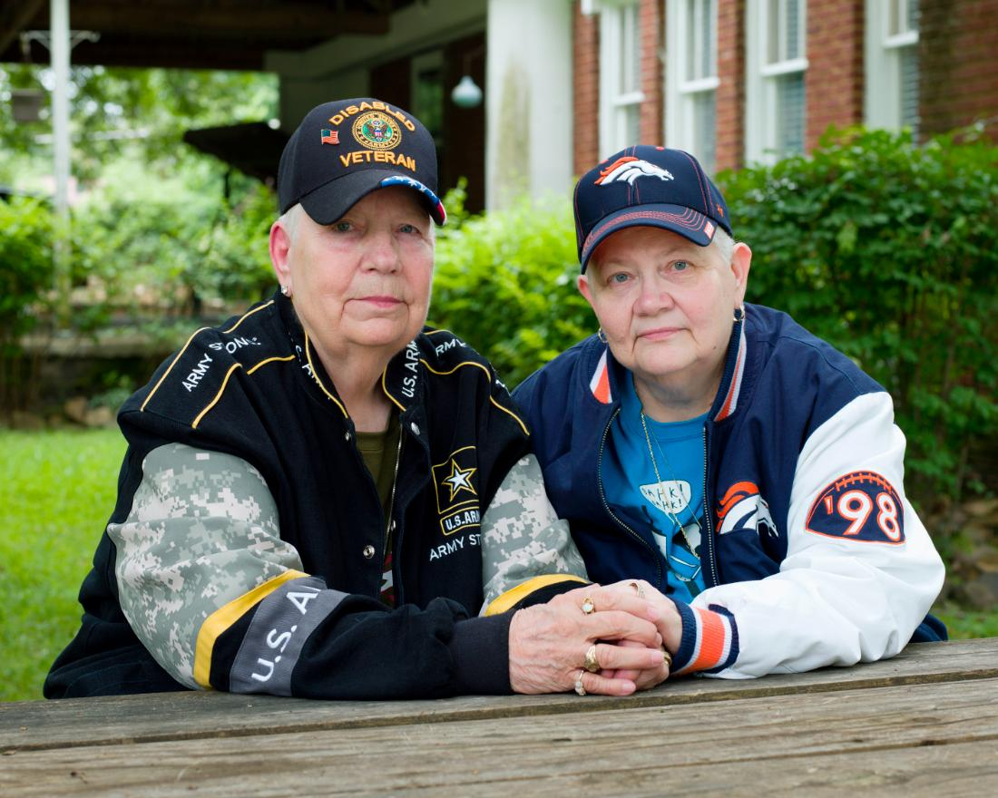 "Samm: ""Hank and I have been together 44 years. We met after her time in the military, through some Chicago lesbians I had met ... She was different from anybody I have ever met in my whole life and I knew that she would be in my life for the rest of my life. There was this immediate connection that would always be there. The way we are today, we started out that way."""