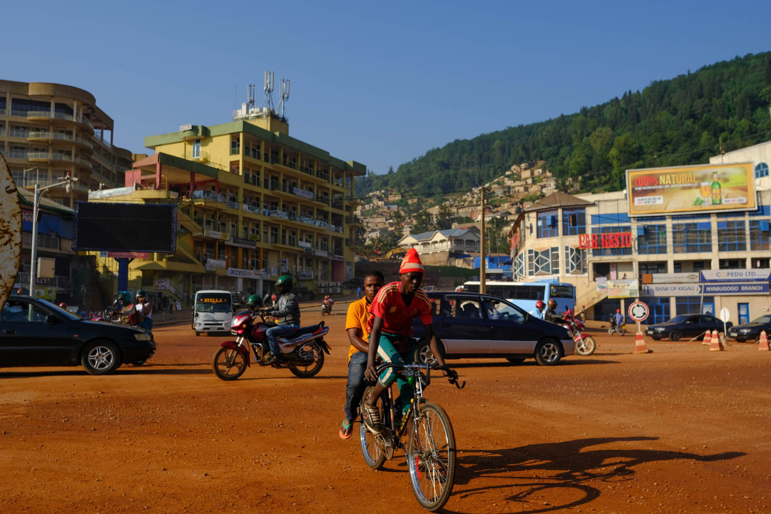 Early morning traffic near Kigali's Nyabugogo bus station.