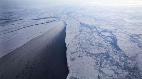 IN FLIGHT, GREENLAND - MARCH 30:  Sea ice is seen from NASA