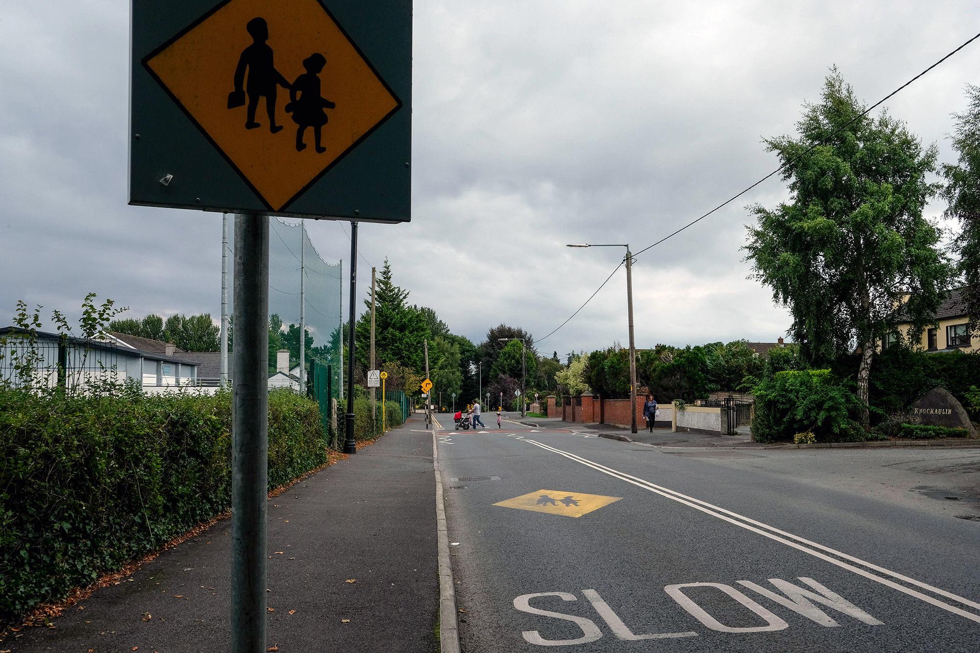 Road signs mark a school zone in Leixlip.