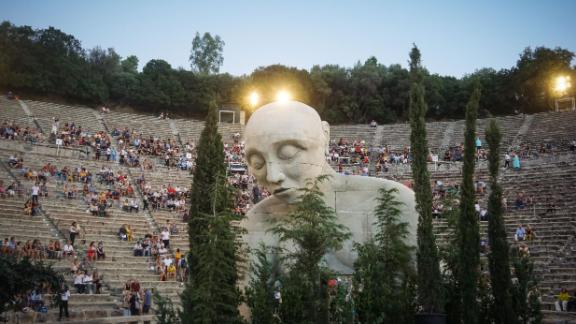 Athens, Greece: A giant statue of Oedipus is featured in the performance of Sophocles