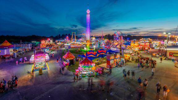 Fairlea, West Virginia: Pictured on its opening day, August 9, the 2018 State Fair of West Virginia was held in the town of Fairlea.