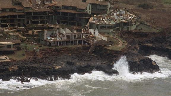 A Poipu Beach resort on the Hawaiian island of Kauai is heavily damaged following high winds and rain from Hurricane Iniki, Sept. 12, 1992. The island remains without electricity and the airports are closed. (AP Photo/Reed Saxon)