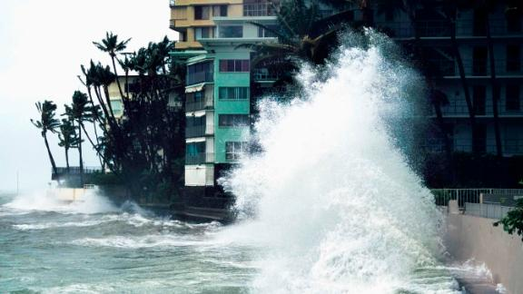 Storm waves from Hurricane Iniki crashed into banks near hotels in Honolulu on the island of Oahu in Hawaii in 1992.