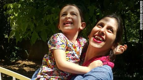 Nazanin Zaghari-Ratcliffe is pictured on Thursday with her daughter Gabriella in Damavand, east of Tehran.