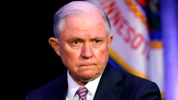 Attorney General Jeff Sessions waits to speak at the Eighth Judicial District Conference, Friday, Aug. 17, 2018, in Des Moines, Iowa. (AP Photo/Charlie Neibergall)