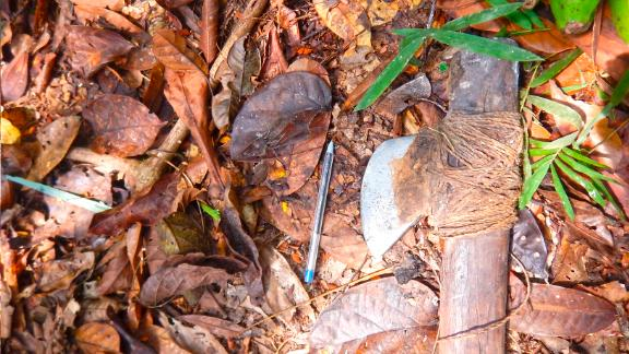 An ax discovered by researchers from Brazil's National Indian Foundation during a recent survey of uncontacted tribes in the Amazon. The pen is used for scale.