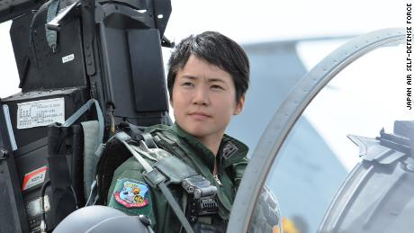 Misa Matsushima in the cockpit of an F-15 fighter jet.