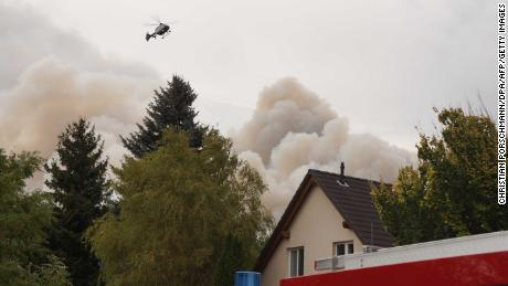 Residents in the village of Frohnsdorf were evacuated Thursday as the fires took hold.