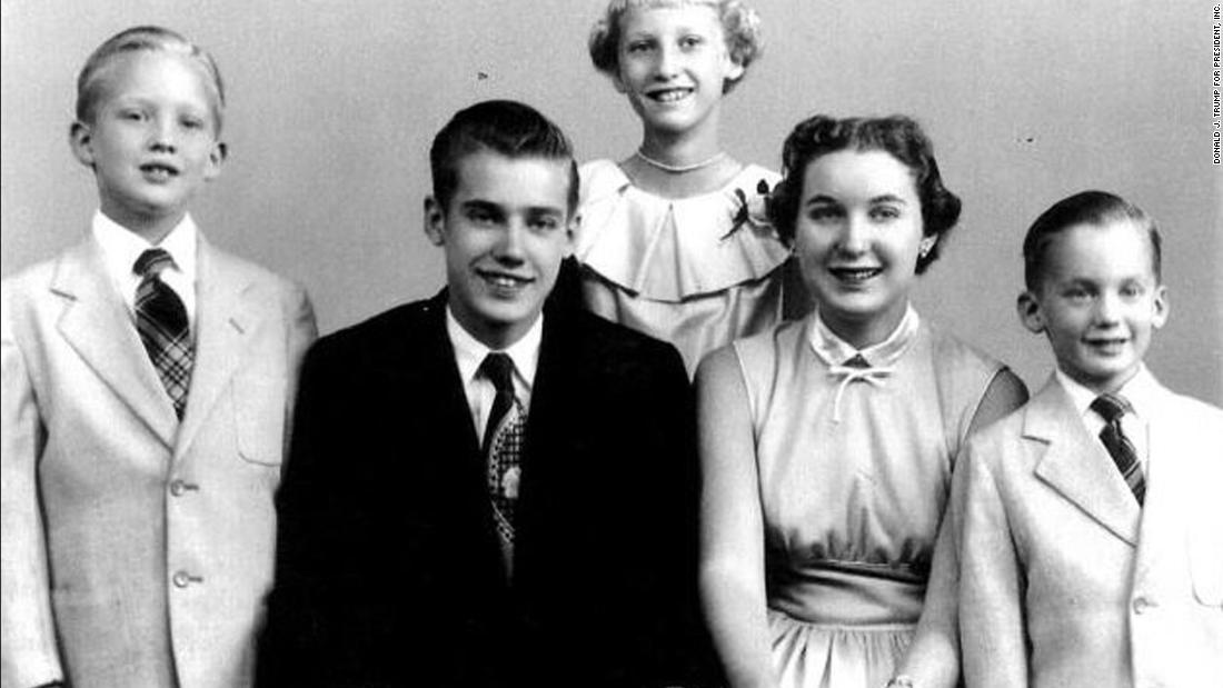 Trump, left, in a family photo. He was the second-youngest of five children.