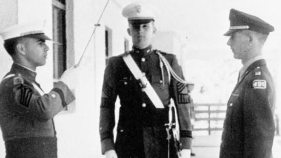 Trump, center, stands at attention during his senior year at the New York Military Academy.