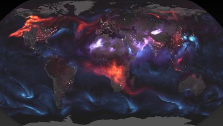 A composite image using NASA satellite imagery shows the different kinds of aerosols in the earth's atmosphere.