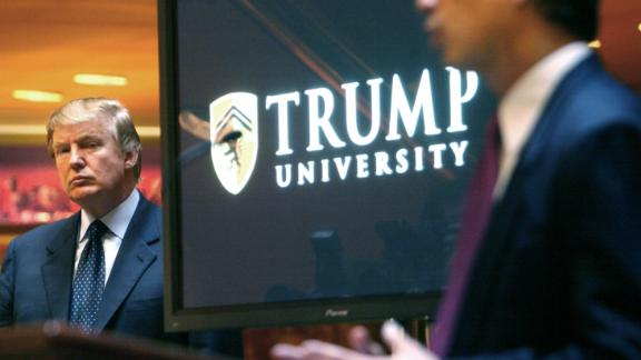 """Trump attends a news conference in 2005 that announced the establishment of Trump University. From 2005 until it closed in 2010, Trump University had about 10,000 people sign up for a program that promised success in real estate. <a href=""""http://money.cnn.com/2016/03/08/news/trump-university-controversy-donald-trump/"""" target=""""_blank"""">Three separate lawsuits</a> -- two class-action suits filed in California and one filed by New York's attorney general -- argued that the program was mired in fraud and deception. In November 2016, just days after winning the presidential election, Trump agreed to settle the lawsuits. He repeatedly denied the fraud claims and said that he could have won at trial, but he said that as President he did not have time and wanted to focus on the country."""