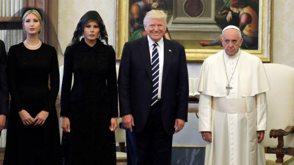 """Pope Francis stands with Trump and his family during <a href=""""http://www.cnn.com/2017/05/23/politics/pope-trump-meeting/index.html"""" target=""""_blank"""">a private audience at the Vatican</a> in May 2017. Joining the President were his wife and his daughter Ivanka."""