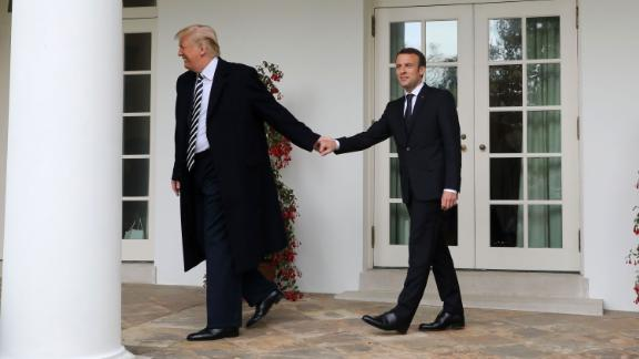 """Trump and French President Emmanuel Macron walk to the Oval Office before a meeting at the White House in April 2018. Speaking before US lawmakers from both the Senate and the House,<a href=""""https://www.cnn.com/2018/04/25/politics/france-president-emmanuel-macron-joint-address-congress/index.html"""" target=""""_blank""""> Macron pressed the United States to engage more in global affairs,</a> contrasting with the steps the Trump White House has taken toward isolationism since he came into office."""