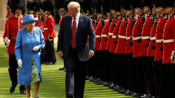 The Queen and US President Donald Trump inspect a guard of honor during Trump's visit to Windsor Castle in July 2018.