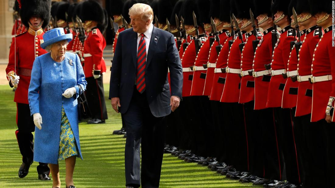 "The Queen and US President Donald Trump inspect a guard of honor during <a href=""https://www.cnn.com/interactive/2018/07/politics/trump-europe-trip-cnnphotos/"" target=""_blank"">Trump's visit to Windsor Castle</a> in July 2018."