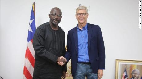 Former Arsenal Manager meets Liberia President George Weah where he received the country's highest order on Friday 24 August 2018
