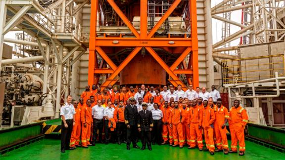 Each mining ship has a team of 120, with 60 people working on board for each 28-day rotation. Employees are flown by helicopter to and from the vessel.<br />
