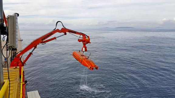 The diamond mining company sends out unmanned, autonomous vehicles to survey the seabed.