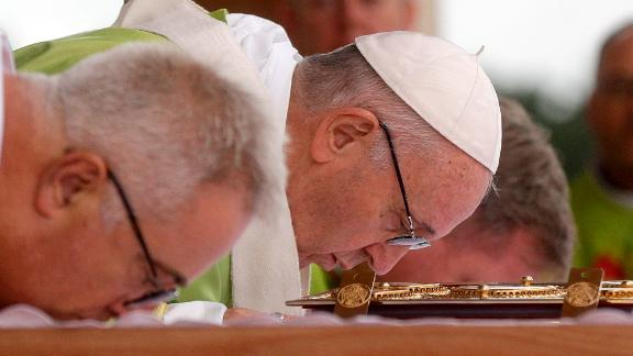 Pope Francis celebrates Mass at Phoenix Park in Dublin, Ireland, on Sunday.