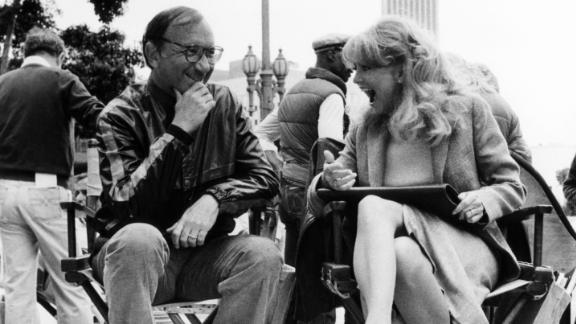 """Neil Simon with Goldie Hawn during the filming of """"Seems Like Old Times,"""" in 1980."""