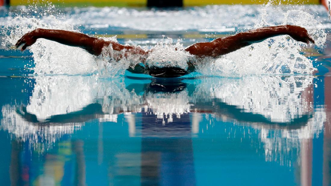 India's Sajan Prakash swims the 100-meter butterfly during the Asian Games in Jakarta, Indonesia, on Wednesday, August 22.