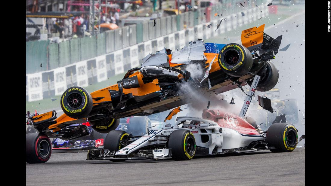 The Formula One car of Fernando Alonso goes flying after it was hit by Nico Hulkenberg during the Belgian Grand Prix on Sunday, August 26. Neither driver was hurt, nor was Charles Leclerc, who was under Alonso's car when it went airborne.