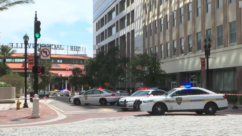 Police responded to a shooting at the Jacksonville Landing on Sunday, August 26, 2018.