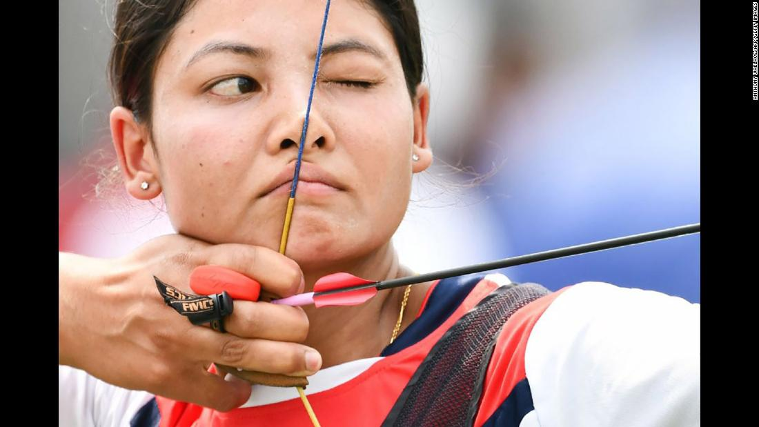 Gyanu Awale, an archer from Nepal, competes at the Asian Games on Tuesday, August 21.