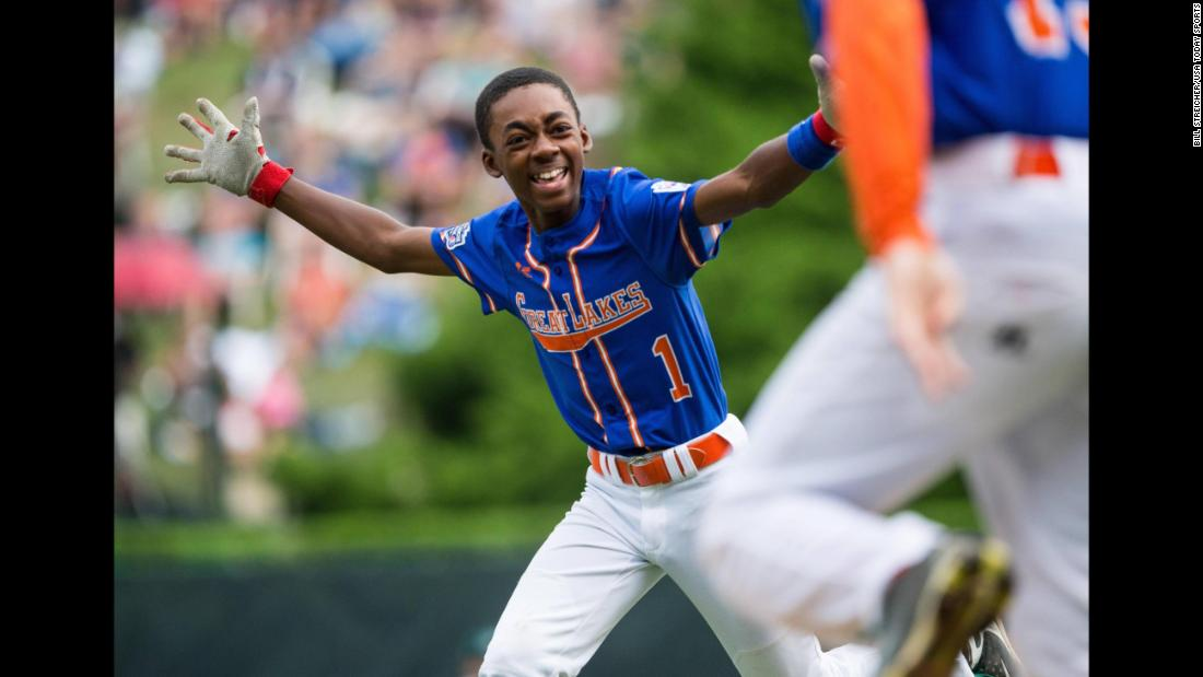 Reggie Sharpe reacts after his game-winning hit at the Little League World Series on Monday, August 20. Sharpe's team from Grosse Pointe Woods, Michigan, won 5-4 over a team from Des Moines, Iowa.