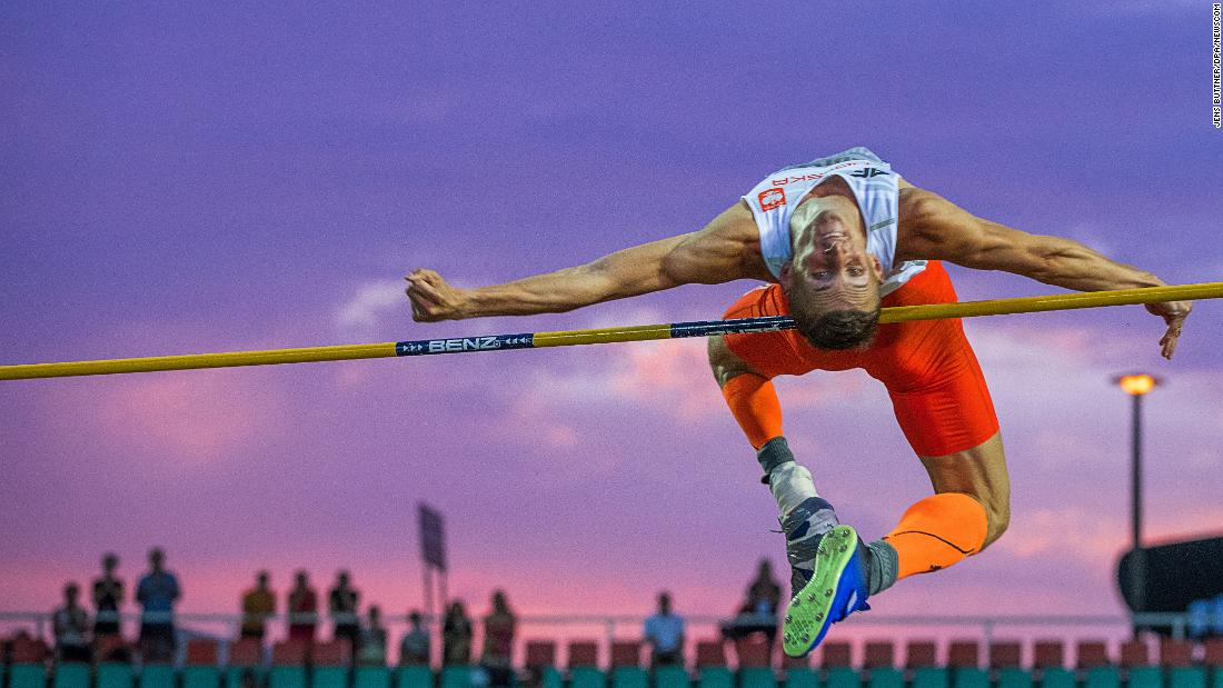 Poland's Maciej Lepiato competes in the high jump, which he won Thursday, August 23, at the World Para Athletics European Championships in Berlin.