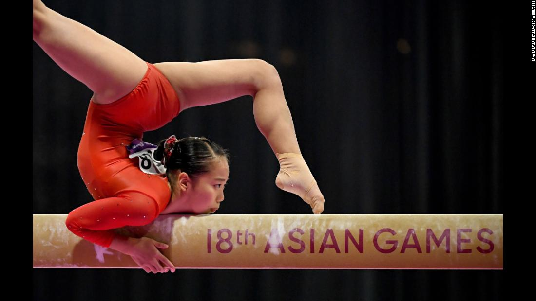 Japan's Shiho Nakaji competes on the balance beam at the Asian Games on Wednesday, August 22.