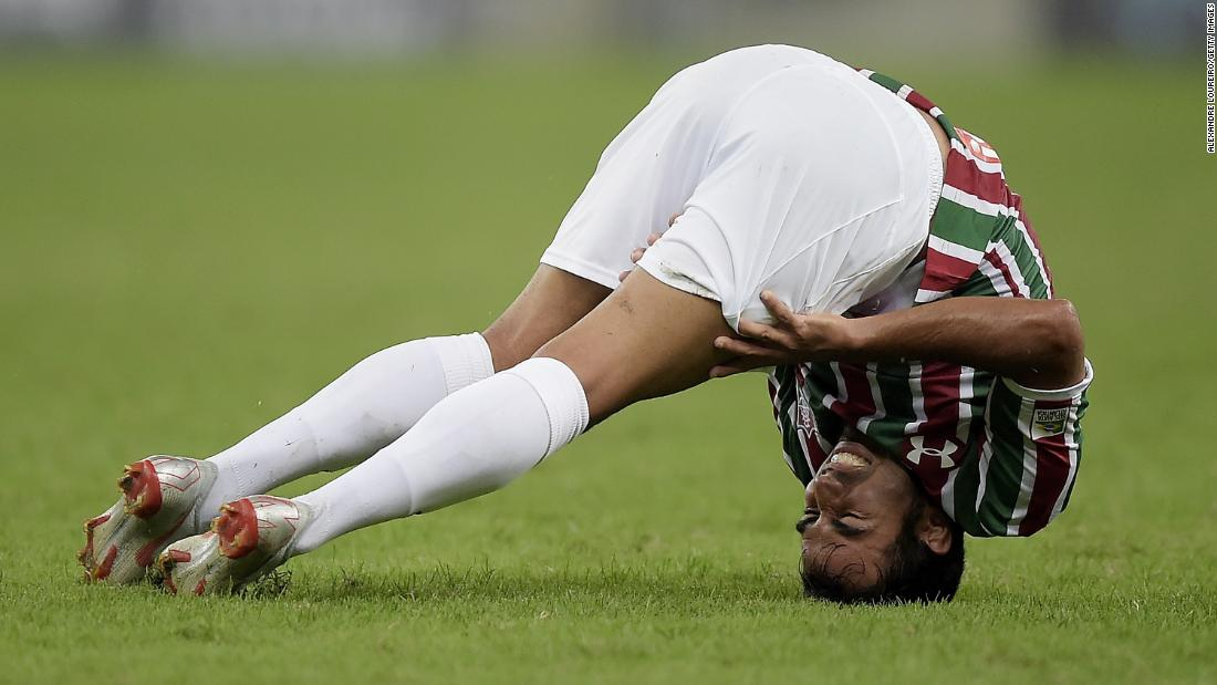 Fluminense's Junior Sornoza grimaces during a professional soccer match in Rio de Janeiro on Wednesday, August 22.