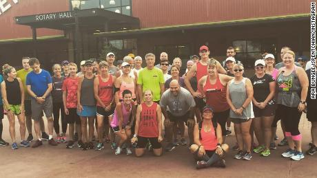 The No Regrets Running group gets ready to run for Tibbetts.