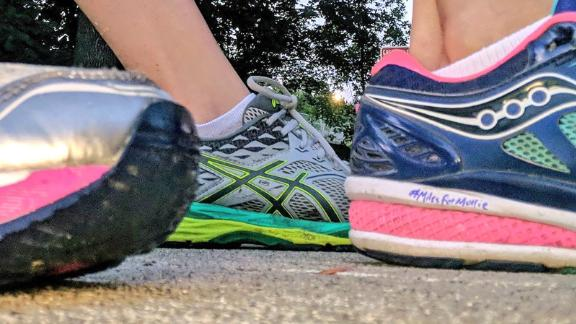 Sarah Hemann Bishop's sneakers pay tribute to Mollie Tibbetts.